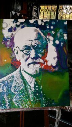 Sigmund freud óleo sobre tela 70 x 80 cm pintei para o Centro de Estudos Psicanalíticos de Porto Alegre.  Fiz gravura limitada em 30 cópias.
