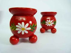 "Swedish, wooden, handpainted ""cauldron"" candle holders."
