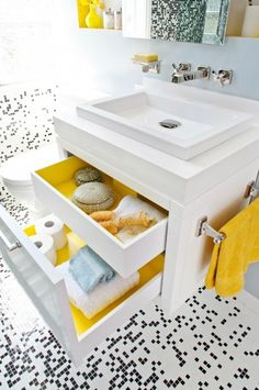 great idea for inside of drawers. love the mosaic tiles too