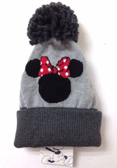 cc8358e5f8706a $30 Baby Gap Girls MINNIE MOUSE POM BEANIE Plush Gray Disney Winter Knit  Ski Hat #