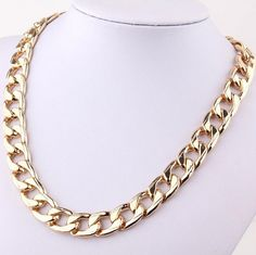 Chunky Gold Plated Alloy Curb Chain Link Necklace from lavagrantbelle shop