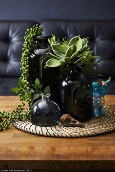 A collection of black vases filled with plants. for the coffee table in the living room Coffee Table Centerpieces, Decorating Coffee Tables, Table Decor Living Room, Room With Plants, Coffee Table Styling, Black Vase, Decoration Table, Black Decor, Home Decor Accessories