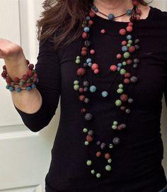 felt necklace statement necklace felted by HeavenSpunCreations, $17.00
