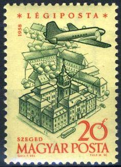 Znaczek: City Hall of Szeged (Węgry) (40th Anniversary of Hungarian Airpost Stamps) Mi:HU 1561A,Sn:HU C191,Yt:HU PA213