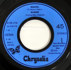 Close-up of Record Label Photo BLONDIE Atomic 7