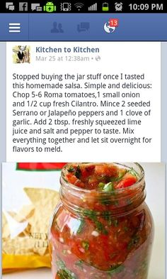 "Took this to a tailgate party with tortilla chips - ""best salsa I've ever had"". There wasn't any left - I was glad I left some at home in the fridge - we grilled chicken for dinner the next night and put some on top and it was delicious that way too."