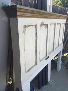 King size 5 panel vintage door headboard with oak crown molding shelf by Vintage Headboards photo by FriscoShabbyChic Headboard From Old Door, Door Headboards, Headboard With Shelves, Bookcase Headboard, Crown Molding Shelf, Crown Moldings, Vintage Headboards, Rustic Headboards, Rustic Bedding