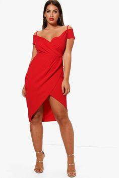 1b90870f411d7 Plus Open Shoulder Wrap Bodycon Dress. Curves ClothingSize 16 DressesPlus  Size Holiday ...