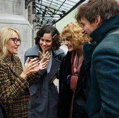 JK Rowling, Katherine Waterston, Alison Sudol, and Eddie Redmayne