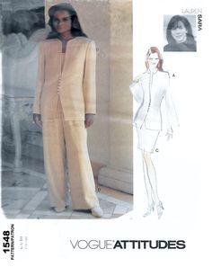 Vogue Attitudes 1548 Lauren Sara Misses' Jacket, Top, Skirt & Pants Sewing Pattern Size 6 to 10 Bust 30 1/2 to 32 1/2 by Denisecraft on Etsy