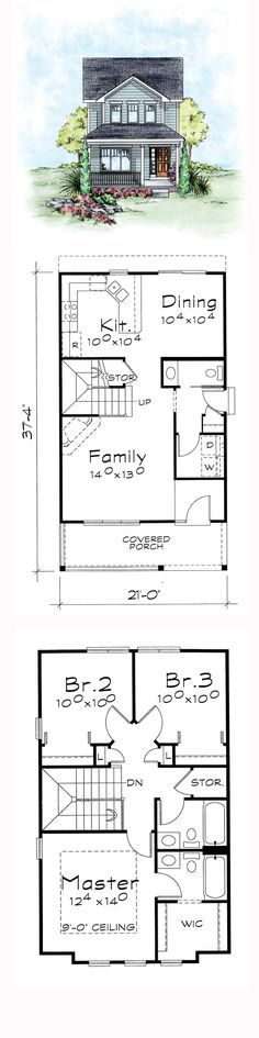 Narrow Lot House Plan | Total Living Area: 1297 sq. ft., 3 bedrooms and 2.5 bathrooms. #narrowlothome