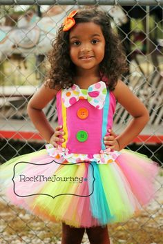 ... Clown Rainbow BIrthday Party Tutu Outfit - Pageant - Halloween Costume