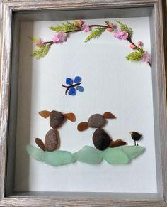Sea Glass Art Dog Lovers Gift Framed Artwork by LifeCreationDesign on Etsy