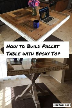 How to build a Pallet Table with Epoxy Top - bathroom - This is custom reclaimed pallet wood table that I had built. The table top has an bar top epoxy res - Bar Top Epoxy, Epoxy Table Top, Epoxy Wood Table, Pallet Countertop, Epoxy Countertop, Wood Countertops, Table Palette, Palette Diy, Pallet Table Top