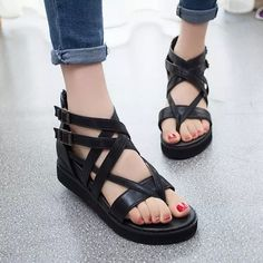 2015 Open Toe Caged Summer Women Shoes Black Leather Peep Toe Flat Platform High Heel Gladiator Sandals Boots Chunky wedges Nail That Deal http://nailthatdeal.com/products/2015-open-toe-caged-summer-women-shoes-black-leather-peep-toe-flat-platform-high-heel-gladiator-sandals-boots-chunky-wedges/ #shopping #nailthatdeal