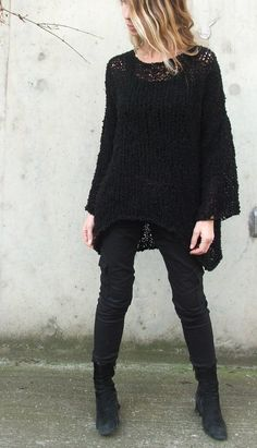 Black sweater / The iLE AiYE warm comfy sweater in by ileaiye Knit Wrap, Winter Outfits, Black Outfits, Black Sweaters, Dress To Impress, Black And Grey, Style Me, Fasion, Comfy Sweater