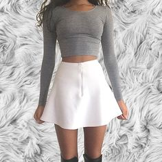 Long Sleeve Cotton Spandex Crop Top and the Brigitte Mini Skirt