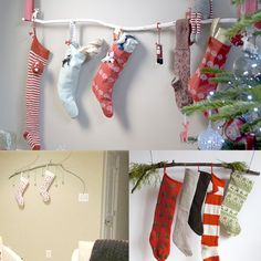 Tree branch or decorated curtain rod for stockings? Could hang small pictures or words above for more holiday cheer, or even ornaments in between stockings! Diy Stocking Holder, Stocking Hanger, Stocking Ideas, Diy Stockings, Christmas Stockings, Painted Branches, Branch Decor, Jolly Holiday, Christmas Holidays