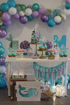 Baby girl birthday party themes decorations 53 New ideas Mermaid Theme Birthday, Little Mermaid Birthday, Little Mermaid Parties, Girl Birthday, Baby Mermaid, Mermaid Party Decorations, Birthday Party Decorations, Birthday Banners, Birthday Invitations