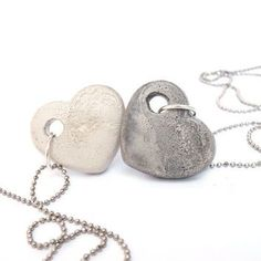 His and hers, mom and daughter, BFFs...this concrete heart necklace set is an easy DIY with leftover concrete and a silicone mold.  #concrete