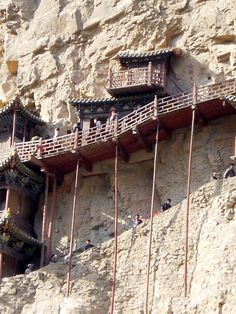 The 1400- year-old Hanging Temple is unique for the mix of Buddhism, Taoism and Confucianism, and famed as an architectural wonder. The temple surprisingly hangs on a near-vertical mountain cliff over 50 meters above the ground, and is supported by crossbeams half-inserted into the rock.