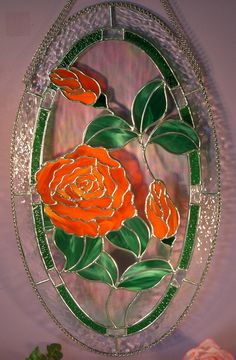 Stained Glass Oval Rose with Buds by StainedGlassbyWalter on Etsy