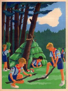 French poster depicting cub scouts from the Love the graphic art work- it could have been today as much as back then. Cub Scouts, Girl Scouts, Photo Focus, Scout Camping, Children's Book Illustration, Vintage Children, Cubs, Vintage Art, Graphic Art