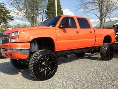 Too bad its a Chevy! love the orange though! Jacked Up Chevy, Lifted Chevy Trucks, Gm Trucks, Chevrolet Trucks, Diesel Trucks, Cool Trucks, Pickup Trucks, Chevy Duramax, Dodge Cummins