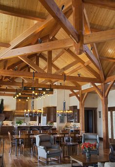I'd use old barn ladder in kitchen as hanging pot rack.  Use one chandelier over table...my table wouldn't be that huge.  One wagon wheel rustic light would work. .: Texas Timber Frames - Galleries :. Timber Trusses, Frame House Plans, Frame Homes, Post and Beam Homes, Log House Log Home Plans, Barn Homes