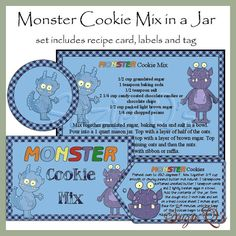 Make your own Monster Cookie Mix in a Jar  Label by SuzieQsCrafts, $2.00