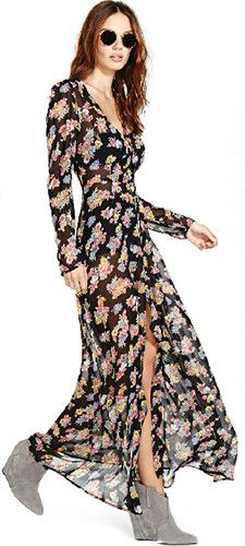 Sweet Floral Print V-neck Slit Hem Chiffon Maxi Dress Online Shopping Mall, Fashion Skirts, Chiffon Maxi Dress, Fashion Statements, Hot Outfits, Love Her Style, Dress Summer, Fashion Accessories, Floral Prints