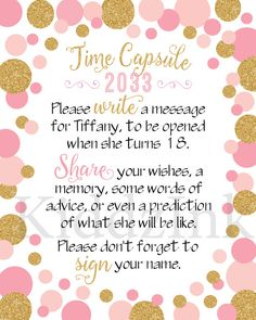 Time Capsule Table Sign and Message Cards for 1st by KiddzInk