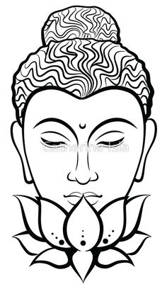 'Buddha (Black&White)' Sticker by Catherine Isla Yoga Painting, Kerala Mural Painting, Buddha Painting, Madhubani Painting, Buddha Drawing, Buddha Art, Outline Drawings, Art Drawings, Glass Painting Designs