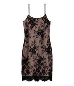Vestido corto de tirantes | Beige/Negro | Mujer | H&M MX