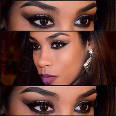 Dark smokey eyeshadow for dark skin tone   AmazingMakeups.com ...