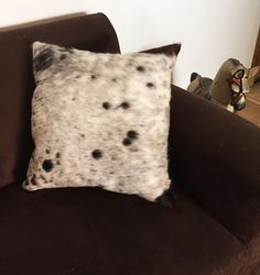 Authentic white and black cowhide pillow decorative pillow, accent pillow, throw pillow - 45x45cm 18x18 inches genuine leather cushion for home decor