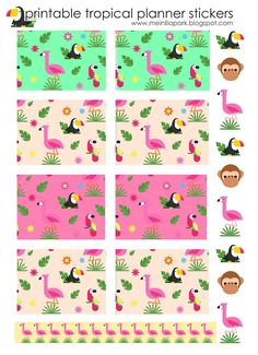 Free Printable Tropical Planner Stickers | MeinLilaPark