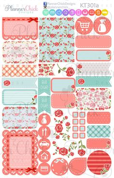 KT301 Shabby Chic Weekly Kit Set of 4 by PlannerChickDesigns