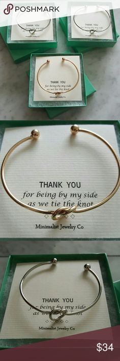 "3 Bridesmaids Infinity Knot Bracelets Gift Wedding Lulus- Let's Tie The Knot Bracelets packaged for bridesmaid gifts. ""Thank you for being by my side as we tie the knot"". 3 for $34, boxed and ready to gift. 1 gold tone bracelet and 2 white gold tone. I have more of these if you need a different amount. Lulu's Jewelry Bracelets"