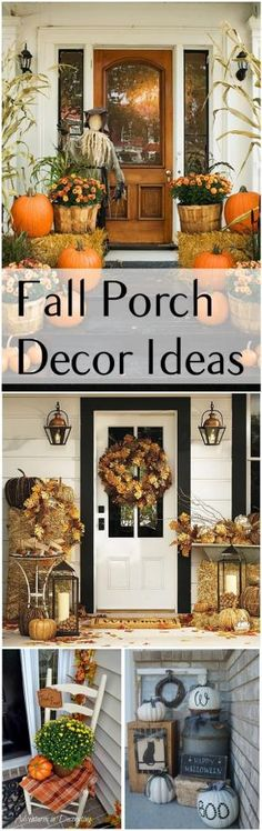Fall Porch Decor Ideas- Amazing Fall decorations and front door and porch decoration ideas. by joan