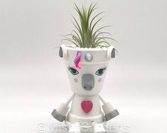 Unicorn Farts - Air Plant Holder with Plant Unicorn Farts - Flower Pot Crafts, Clay Pot Crafts, Flower Pots, Grow Lemongrass, Unicorn Farts, Air Plant Display, Painted Pots, Terracotta Pots, Clay Pots