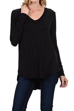 ce6efa60c99 Shamaim Womens Longsleeve V Neck Tunic Top Balck 3XLarge ** To view further  for this item, visit the image link.(It is Amazon affiliate link) #liking