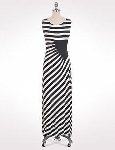 D-Story Dress Diagonal Stripes Sleeveless Dress Womens Vest Dress