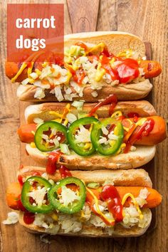 Yes, that's right: carrot dogs! Marinated grilled carrots served on a bun with your favorite toppings. They don't taste like hot dogs, but they're absolutely delicious. Totally vegan, packed with smoky flavor and perfect for grilling! #veganrecipes #grilling #carrotdogs Easy Vegan Dinner, Vegan Dinner Recipes, Veg Recipes, Delicious Vegan Recipes, Vegan Dinners, Lunches And Dinners, Vegetarian Recipes, Grilled Carrots, Carrot Dogs