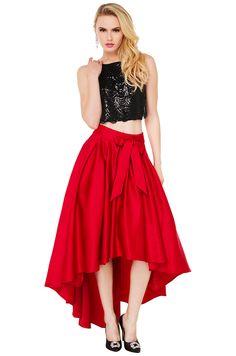 Gracia Hi Low Shine Skirt | Red Skirt | Midi Skirts (also gold and black) $80