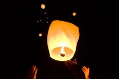 Floating Chinese Lanterns will be at our wedding.  Little notes from our friends and families attached to burn bright into the sky blessing us on our new journey.