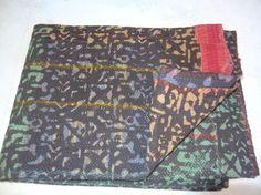 Vintage Kantha Quilt Handmade Indian Cotton Throw #Handmade