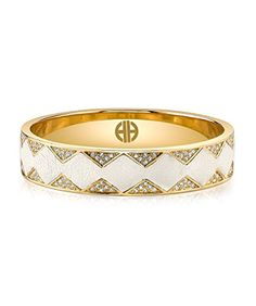 House of Harlow Gold Tone Cream Leather Pave Sunburst Bangle ** Continue to the product at the image link.
