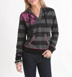 Our Ombre girls hoodie is cool enough that it doesn't need much design, but this may be close to something that would work. Not crazy about that location, but gives an okay reference for how to take a striped hoodie and do something with it.
