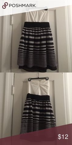"""Black + white striped sundress SMALL This dress hits a little above knee length (5'3"""") and fitted at the natural waist. Cotton/ spandex upper, polyester bottom. Love it, but I've never worn except to try on! Charlotte Russe Dresses Mini"""